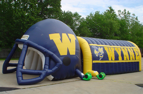 inflatable football helemt tunnel