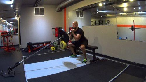 Landmine squat to box