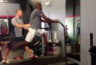 Athlete on treadmill